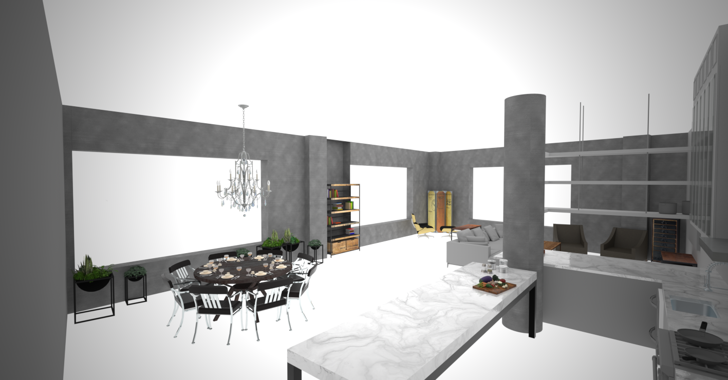material test 2_ENTRY TO DINING LIVING KITCHEN Perspective